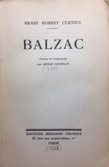 Balzac by Ernst Robert Curtis 1